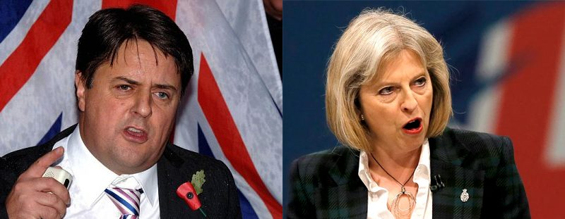 Nick Griffin and Theresa May